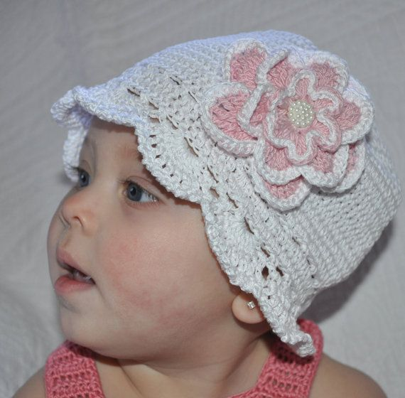 Newborn Baby Hat With Flower Crocheted Baby Hat Crocheted Baby Girl Cloche Cloche With Flower Photo Baby Hat Pink and White Baby Hat