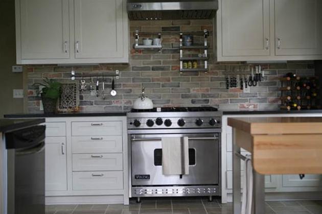 Love The Grey Brick Kitchen Backsplash Kitchen Pinterest Grey Brick Kitchen Backsplash