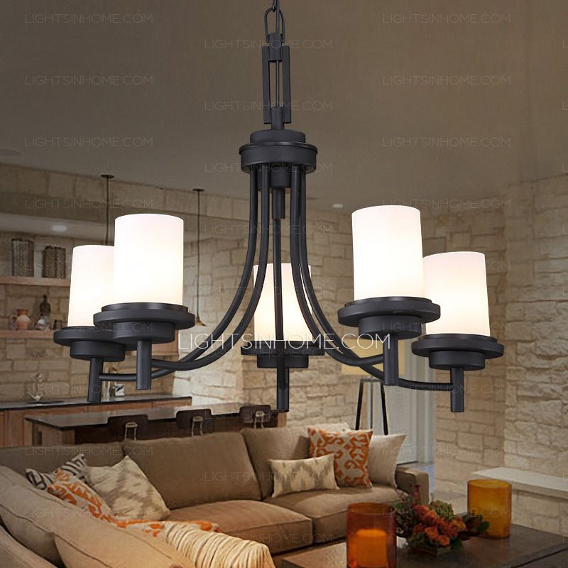 5 Light Black Wrought Iron Chandeliers Cylinder Glass Shade