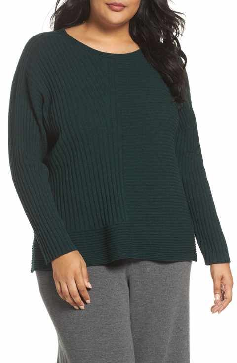 Eileen Fisher Ribbed Cashmere Sweater Plus Size Fall Tops