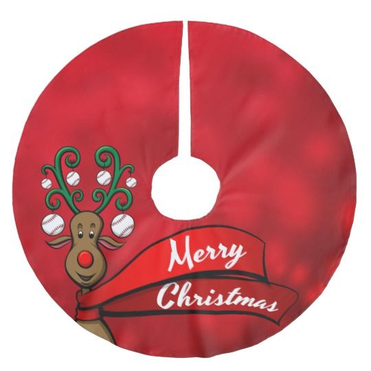 baseball christmas reindeer brushed polyester tree skirt