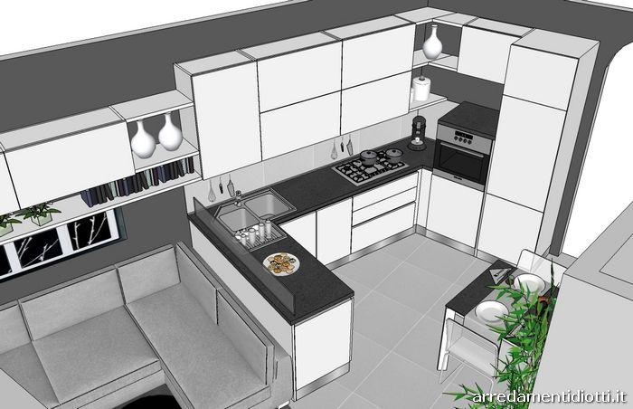 Cucina Spring bianca e porta tv Rack orientabile - DIOTTI A&F Arredamenti