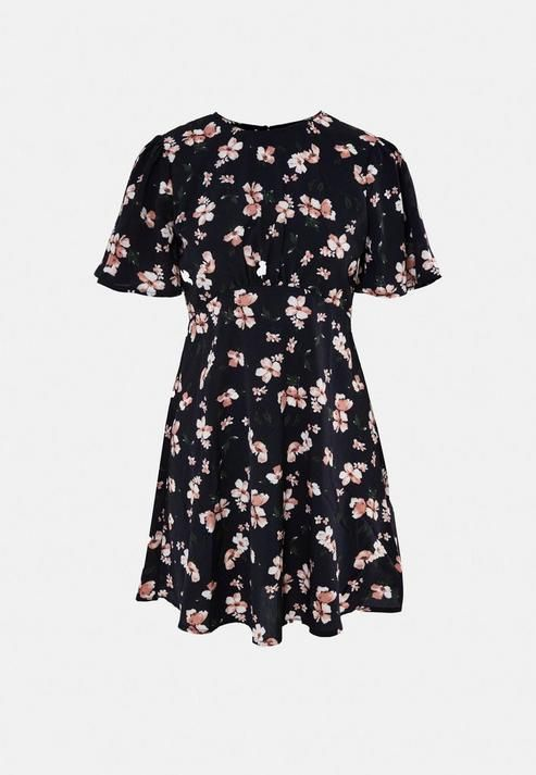 Missguided - Navy Floral Print Flutter Sleeve Skater Dress