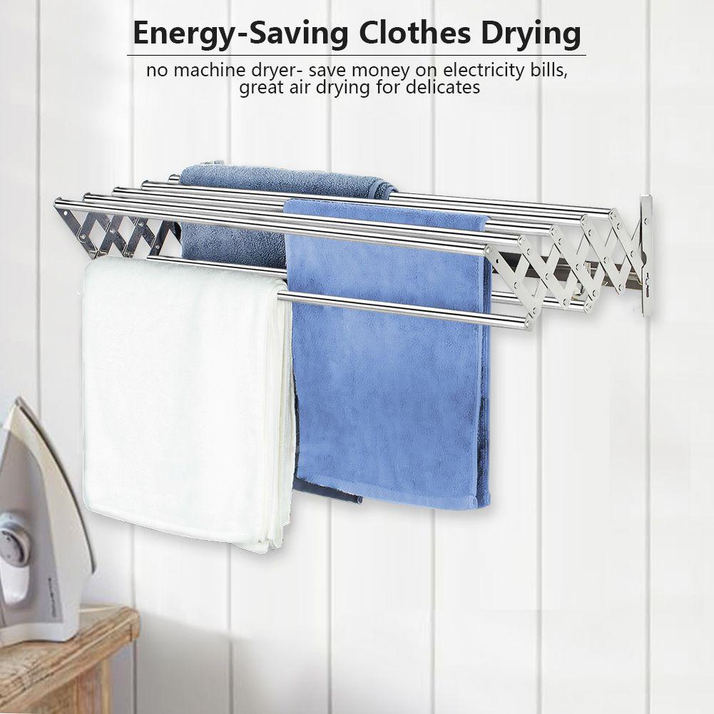 X Cosrack Folding Clothes Drying Rack Wall Mount Retractable 304