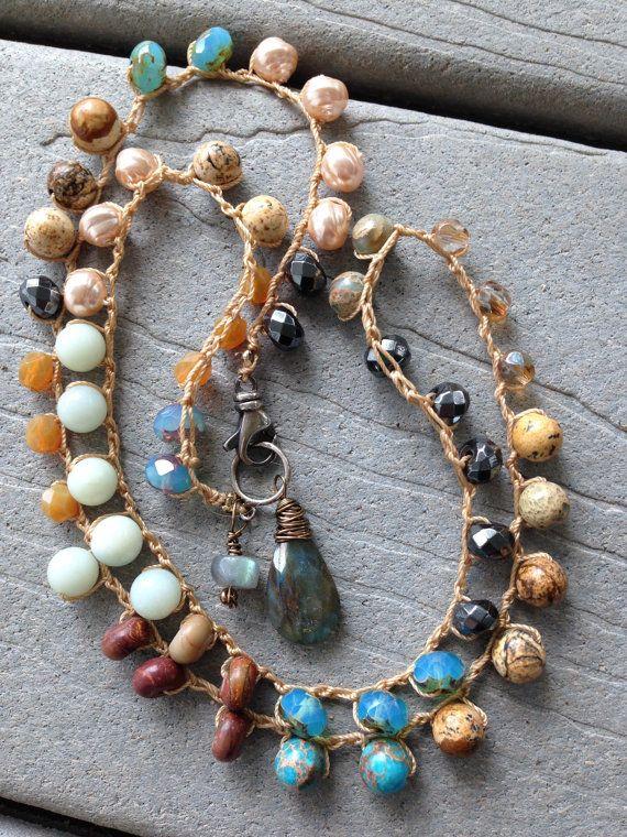 Crocheted Gemstone Beads Labradorite Briolette and drop by SeeJanesBeads