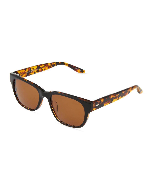 Barton Perreira Lawford Rectangle Sunglasses, Black Amber Tortoise ...