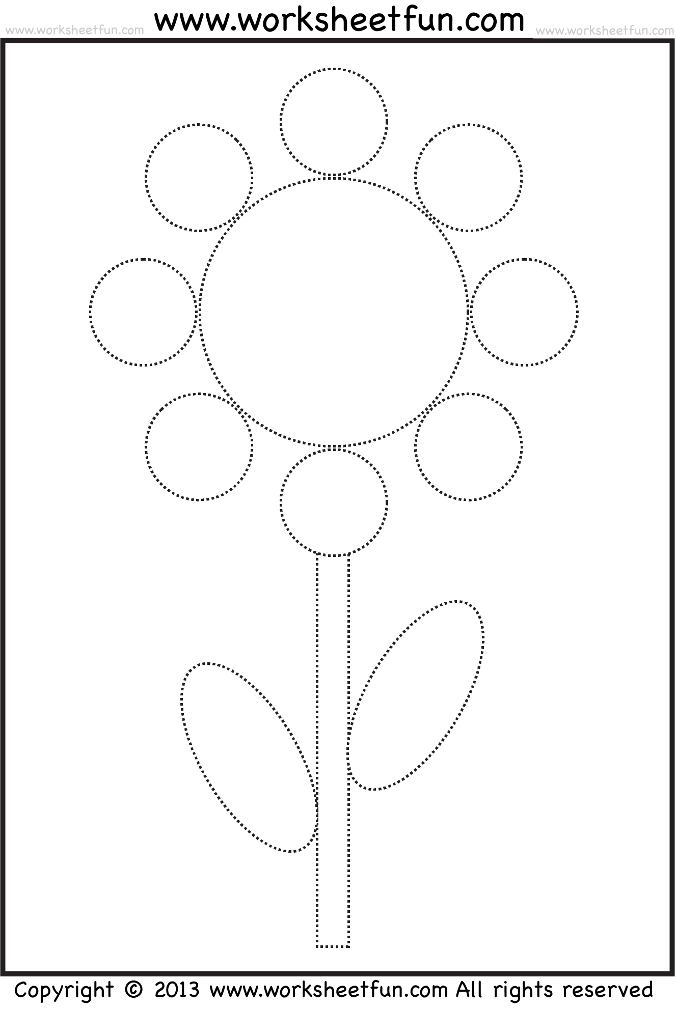 Flower tracing worksheet circles ovals – Shape Tracing Worksheets