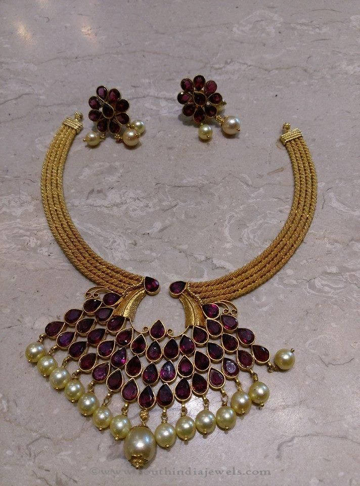 Simple Gold Short Necklace | Jewel, Indian jewelry and Gold
