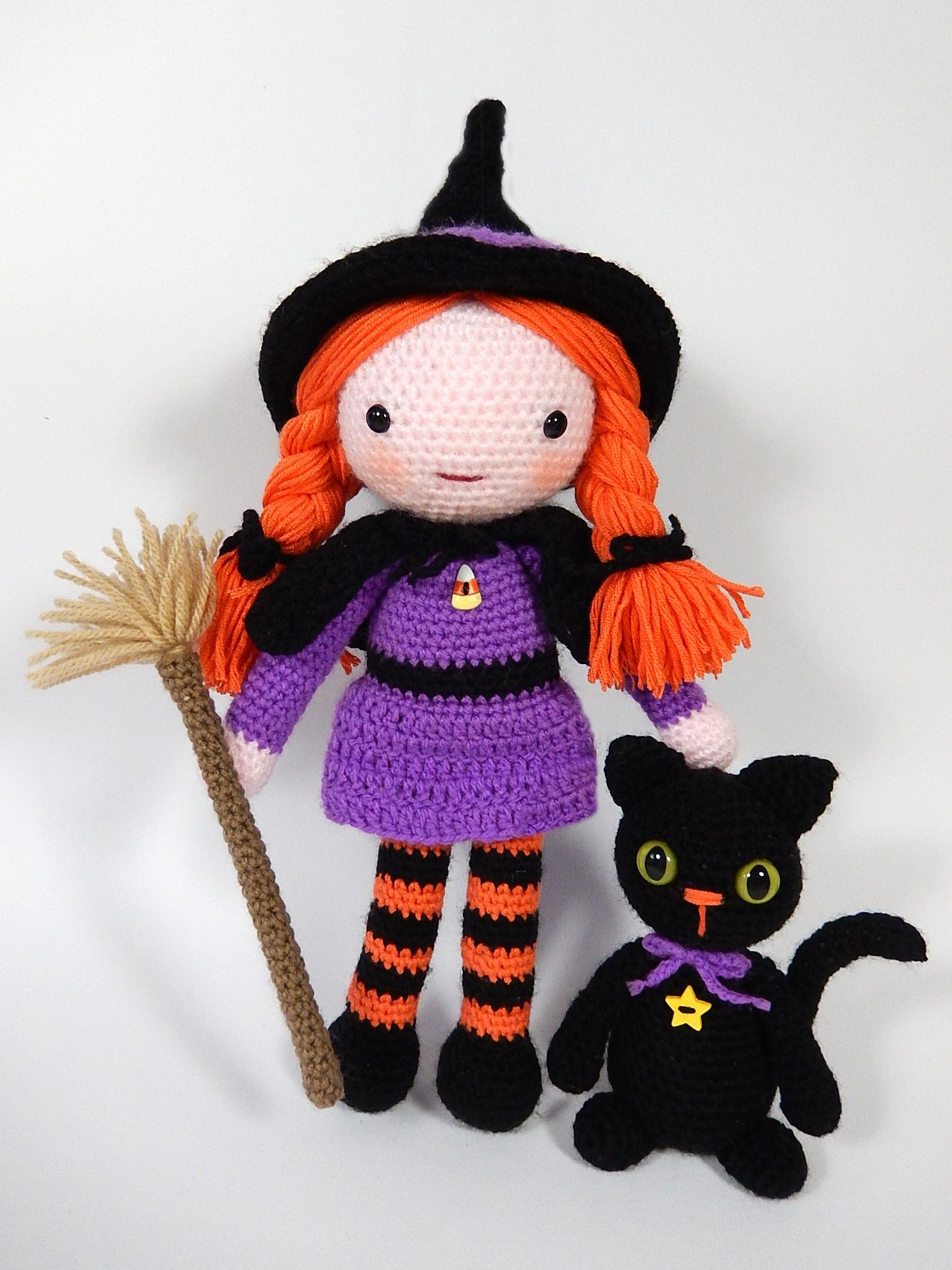 Morgana the Witch and her best friend Soots the cat. Pattern by Moji ...