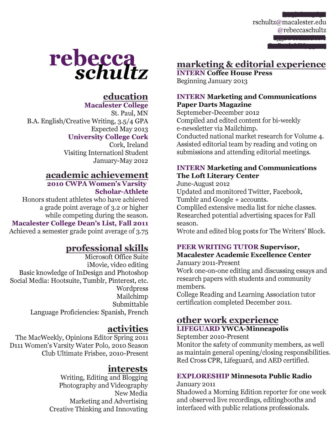 Creative resume, writer resume, entry level resume, marketing ...