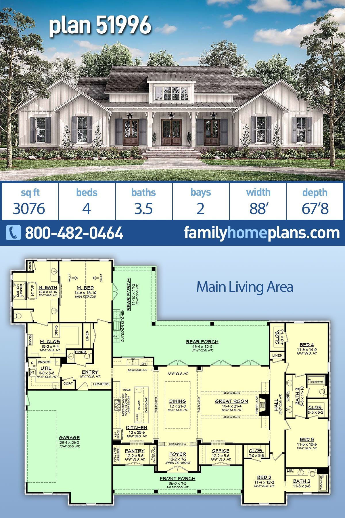 Country Style House Plan Number 51996 with 4 Bed, 4 Bath, 2 Car Garage NEW Modern Farmhouse by Award Winning Architectural Designer at Family Home Plans 4 Bedroom 3.5 Bath A NEW modern farmhouse house plan with 3076 square feet. A gorgeous 4-bedroom 3.5-bathroom home plan has a 2 car garage. Main living area features: large open floor plan in great room and formal dining room with wooden beams throughout. A gourmet kitchen with large central island and huge formal dining room has a pantry and of #farmhousediningroom