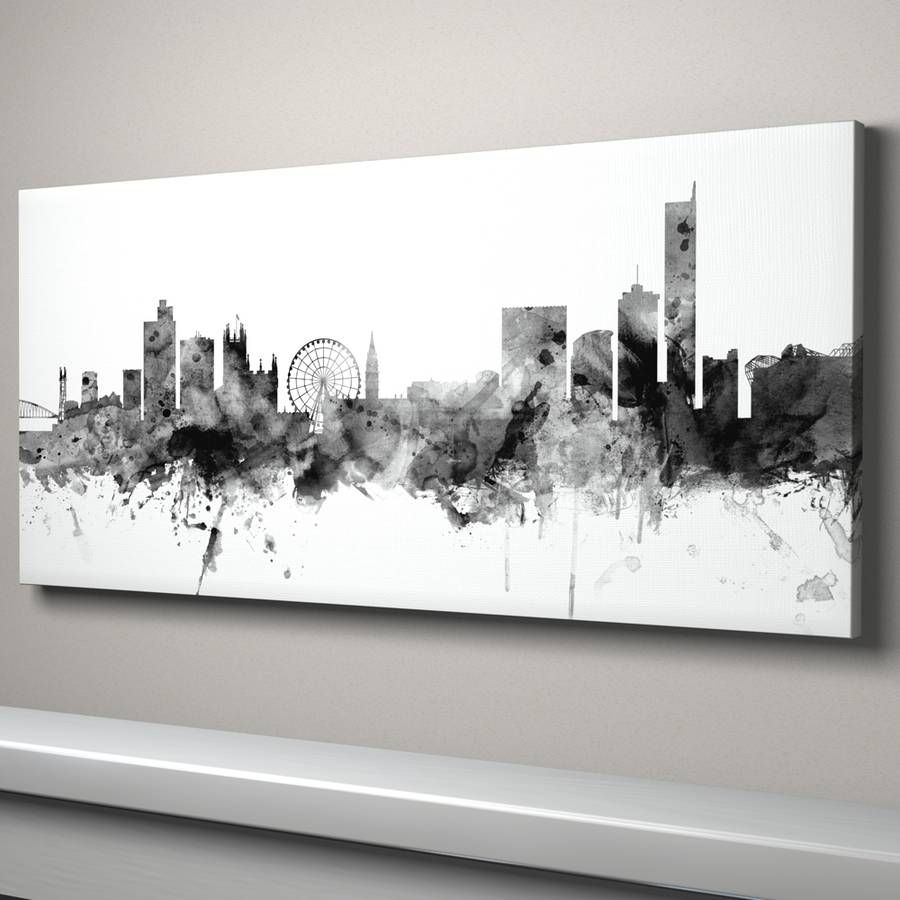 5ab55789500 manchester skyline cityscape black and white by artpause