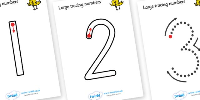 Twinkl Resources >> Large Tracing Numbers (Straight 1