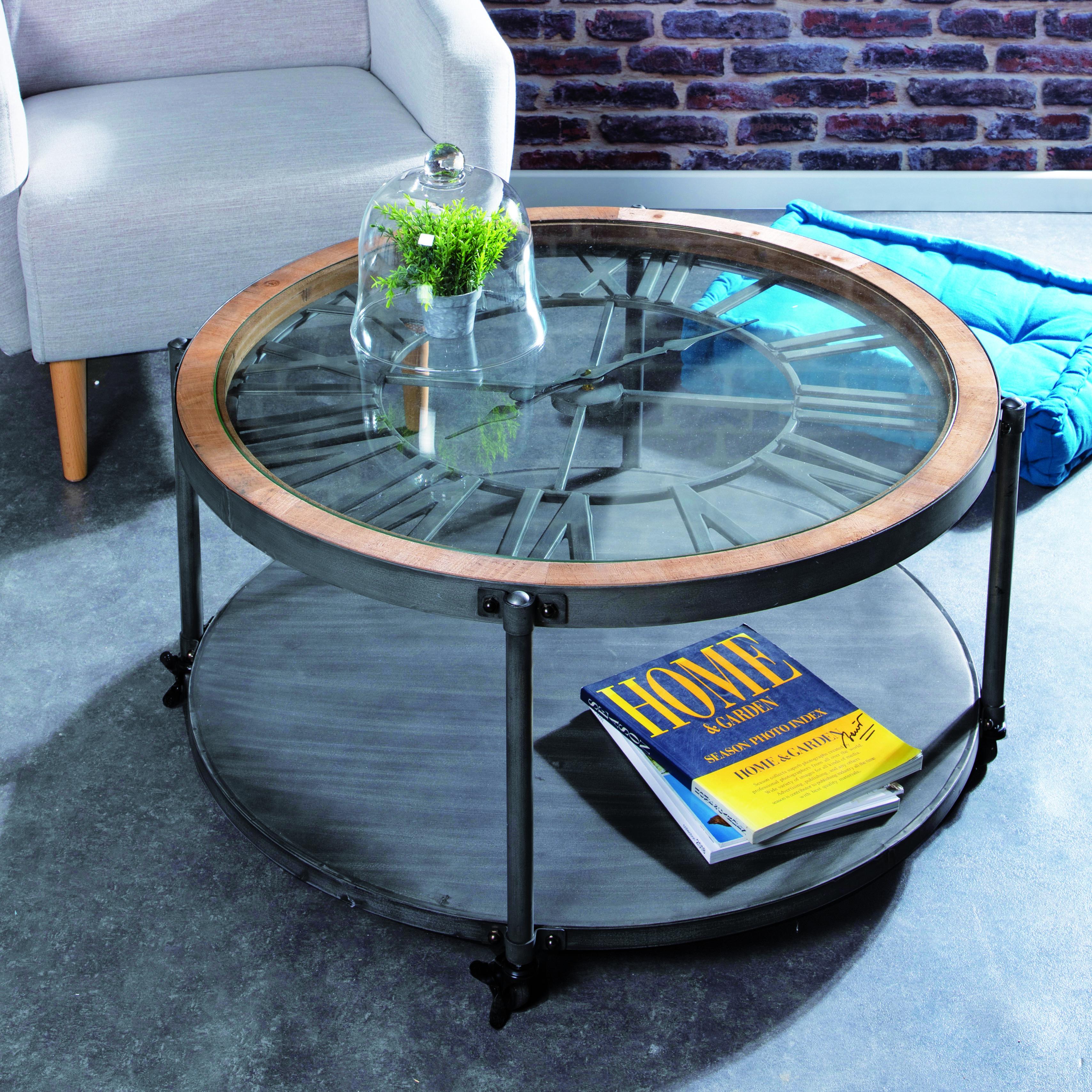 Table Basse Avec Pendule Style Industriel Table Basse Table Basse Horloge Deco Table