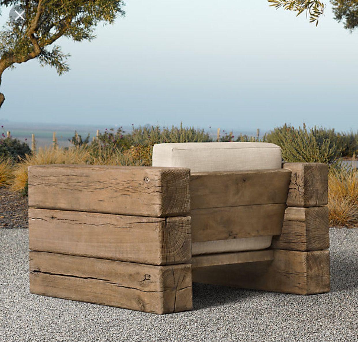 RH Aspen collection Lounge chair outdoor, Diy outdoor