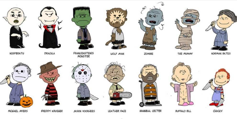 Artist illustrates Charlie Brown from Peanuts as famous horror