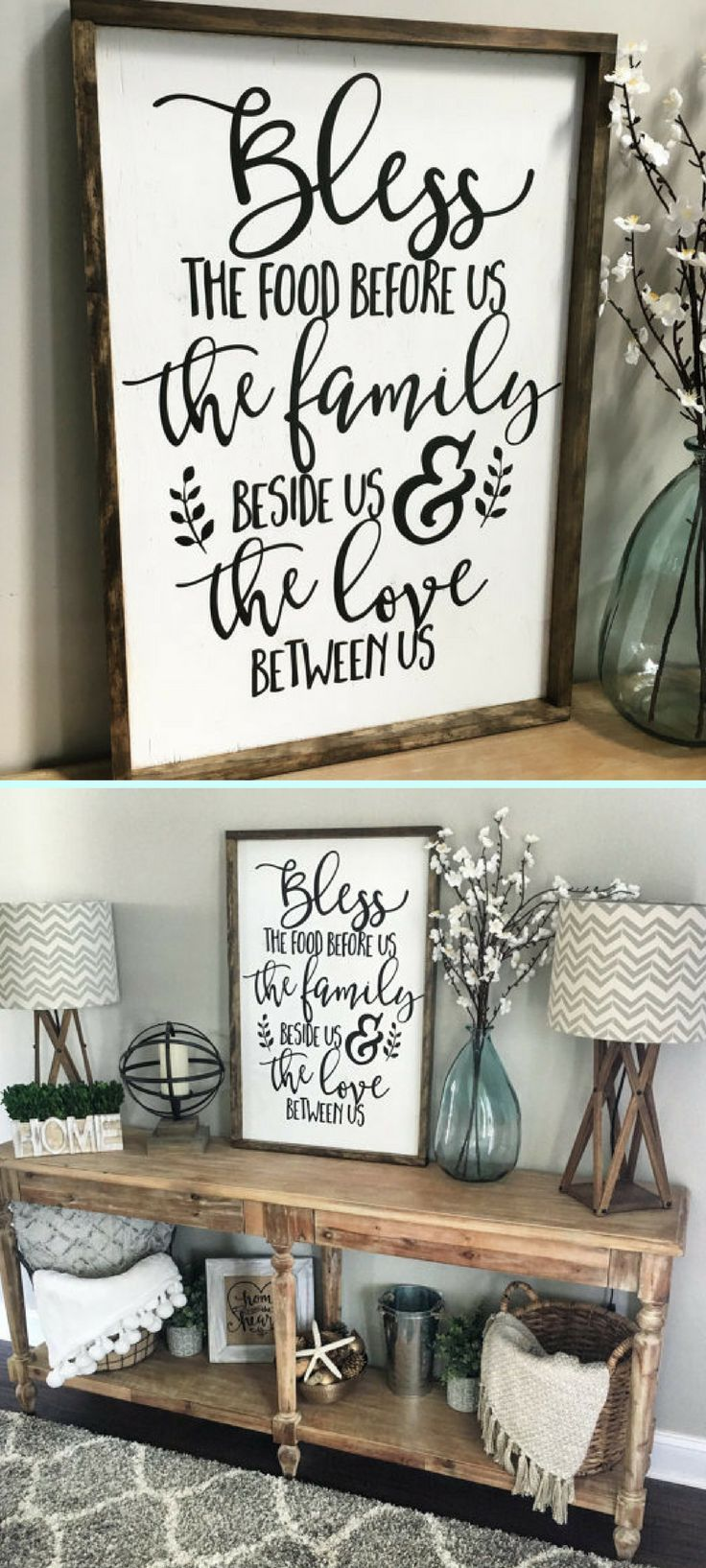 Bless the Food Before Us Wood Sign, Rustic Wood Sign, Framed Sign, Kitchen Sign, Dining Room Sign, Farmhouse Decor, Kitchen Decor #farmhousediningroom