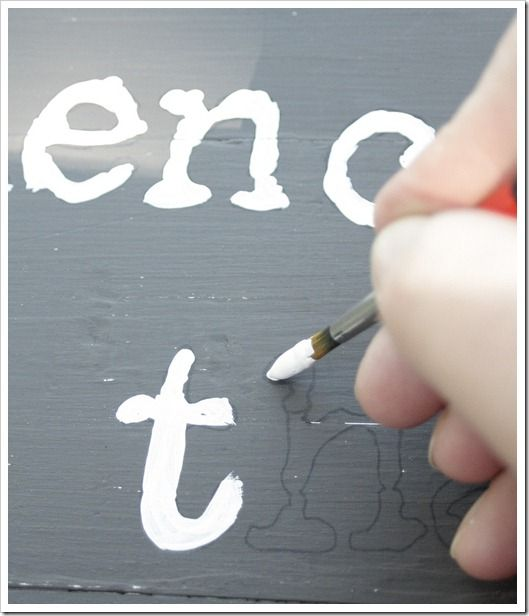 printed quote or words on carbon paper then paint in on canvas or wood...