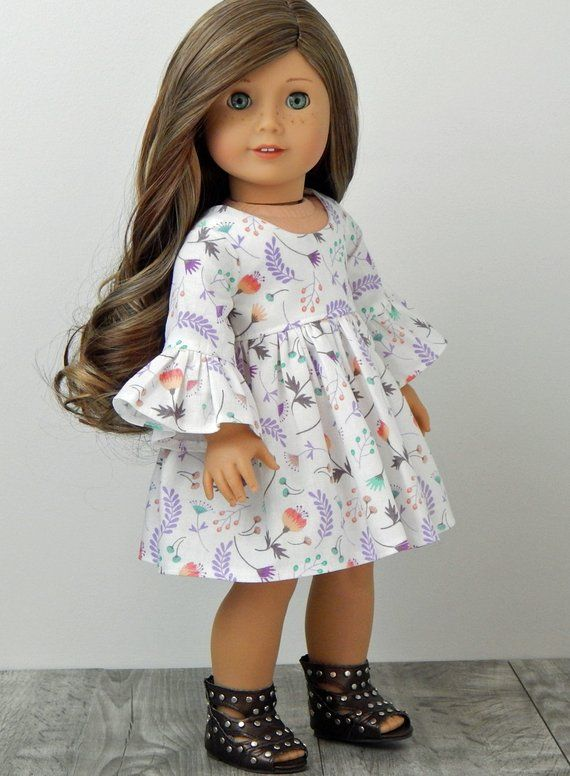 18 inch Doll Clothes-Floral Doll Dress fits like American Girl Doll, AG Doll Clothes, 18 inch Doll Dress, Doll Clothes #dolldresspatterns