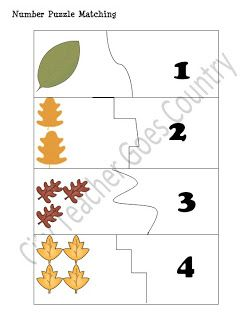 Leaf Puzzle Matching Cards - Numbers 1-10 FREE