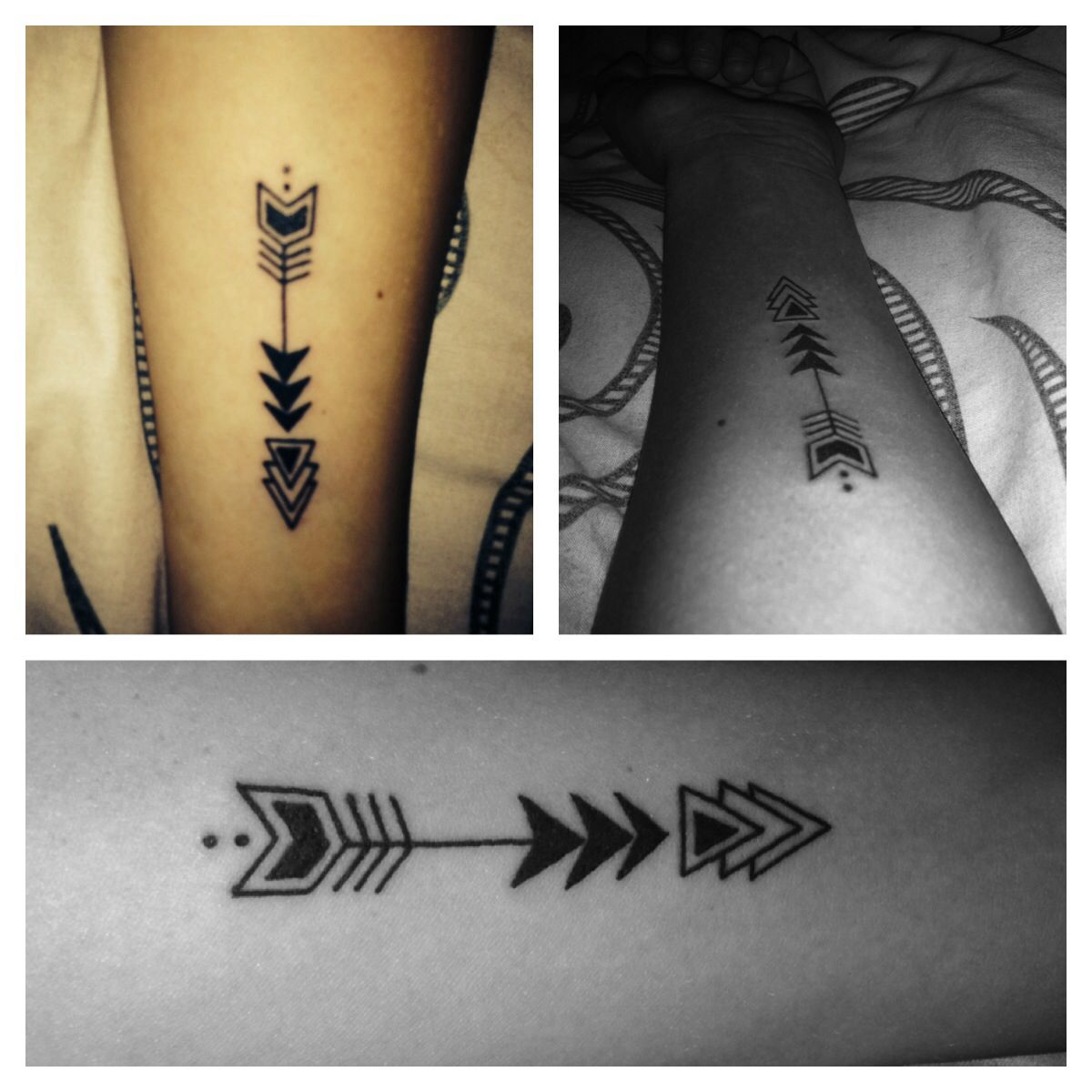 Aztec Arrow Tattoo on the Arm. Dainty trendy meaningful