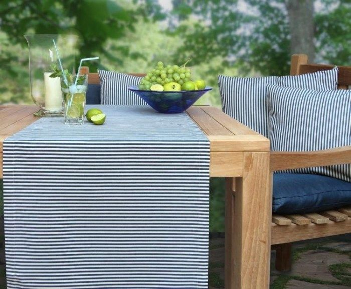 hochwertiger tischl ufer mit streifen wasserabweisend giordano von sander deko gartentisch. Black Bedroom Furniture Sets. Home Design Ideas