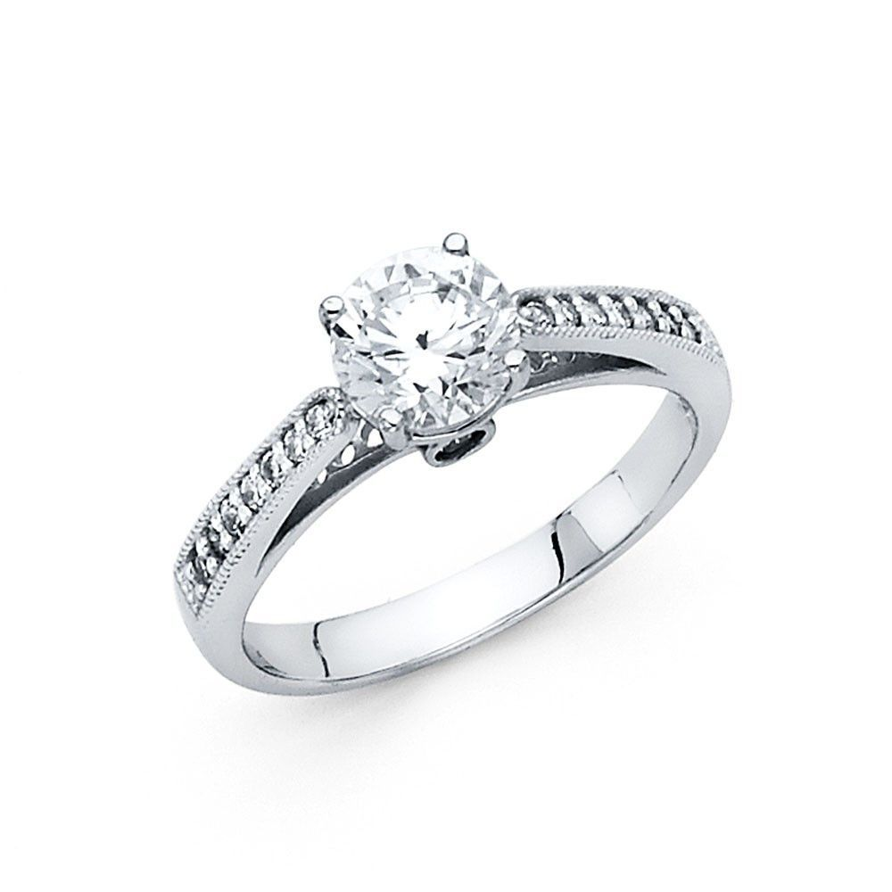 14K White Gold CZ Engagement Ring 2.5mm | Products ...