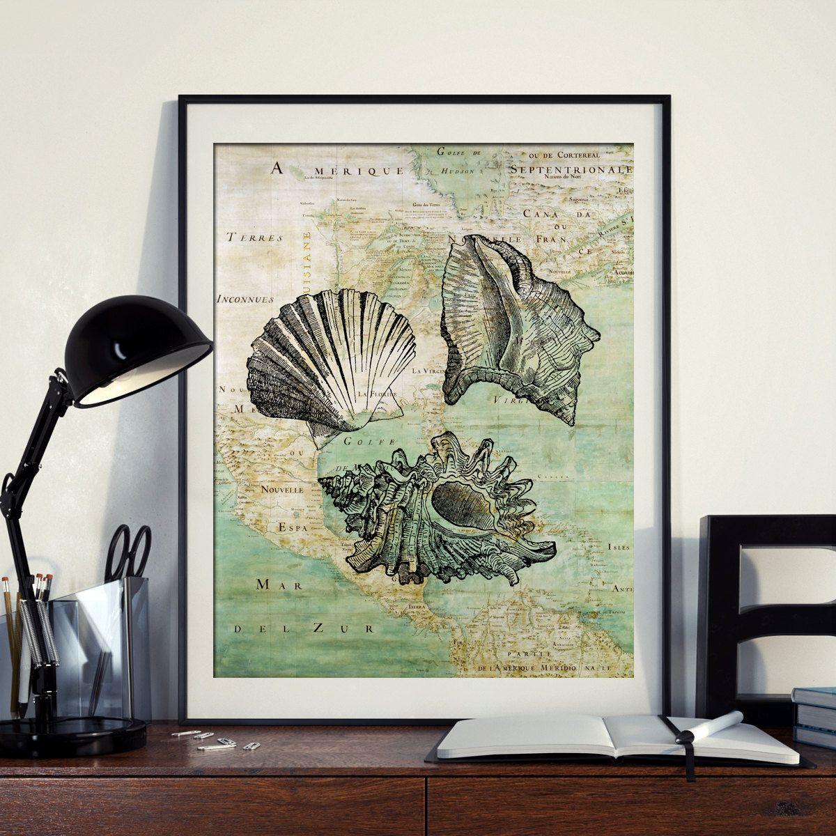 Vintage Map Of North America Shell Seashells Sea Ocean Seaside - Download map of north america