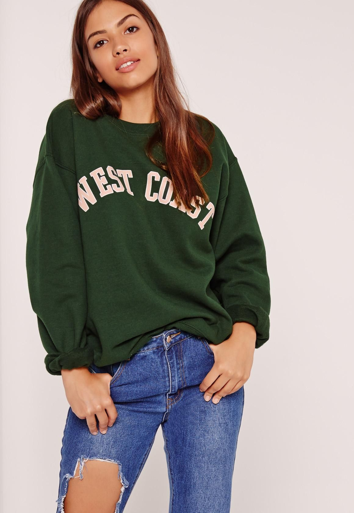 new york buying new nice shoes Missguided - West Coast Slogan Sweatshirt: Green | Slogan ...