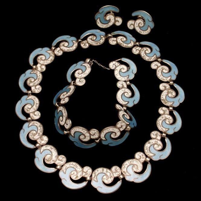 Margot de Taxco Set Necklace Bracelet Earrings Sterling Silver Enamel Vintage