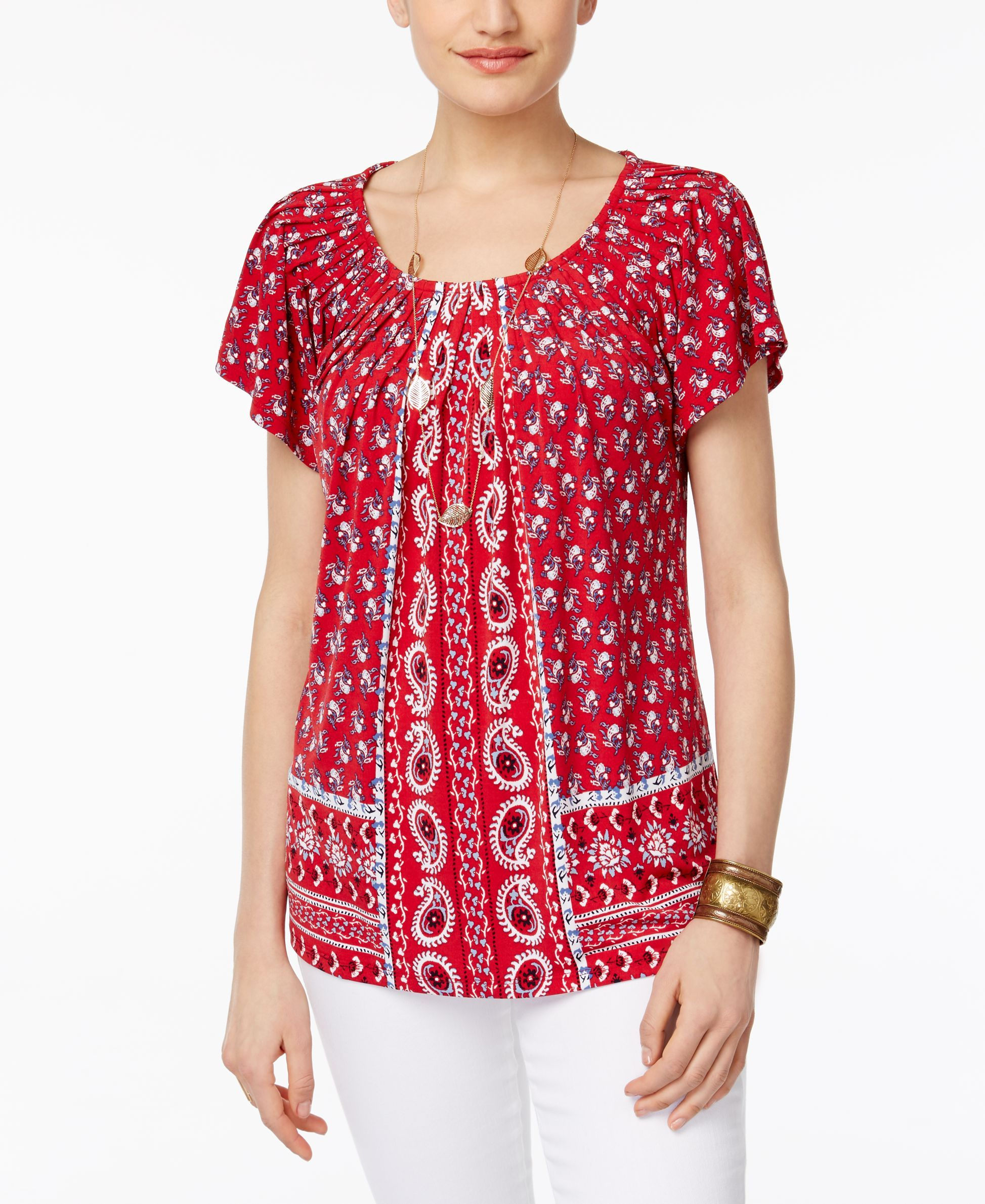 900fbb06be8 Style & Co Printed Pleat-Neck Top, Only at Macy's | Products | Tops ...