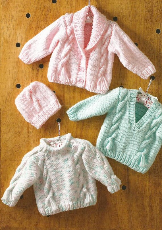Instant Download Pdf Chunky Cable Cardigan Jumper And Hat