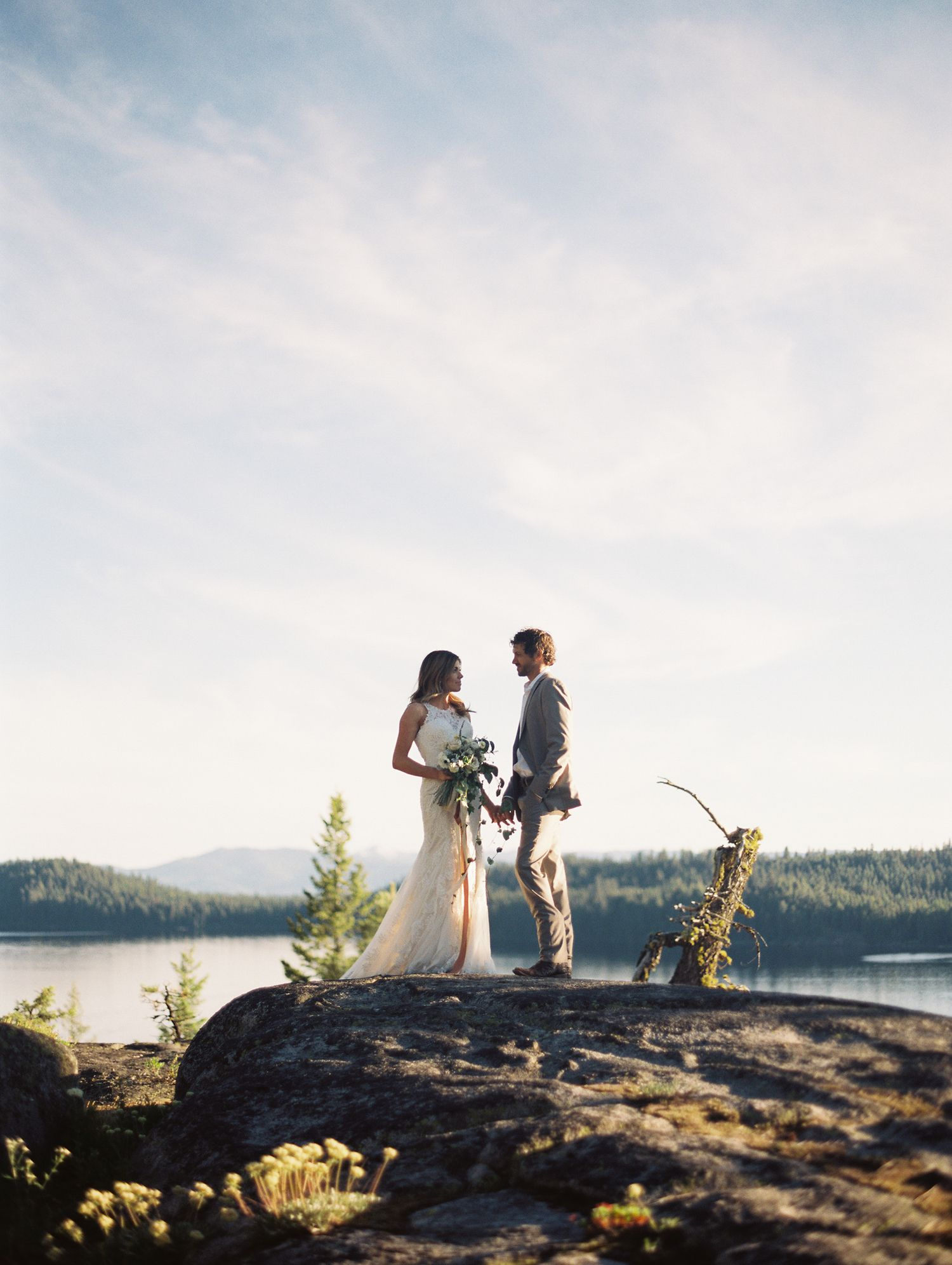 McCall Idaho Elopement By Jenny Losee Photography Wedding Dress From Essense Of Australia