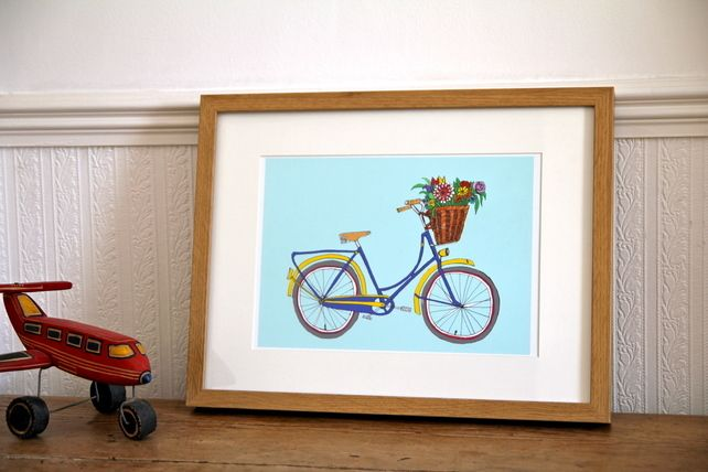 Bicycle illustration - blue bicycle with flowers in basket £17.00