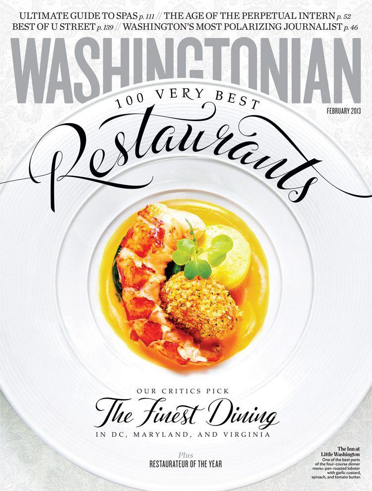 ¡Qué gran cubierta!  ¡Qué gran forma de integrar las tipografías en la imagen! Washingtonian – February 2013