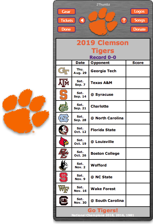 2019 Clemson Tigers Football Schedule Dashboard Widget Clemson Tigers Clemson Tigers Football Georgia Bulldogs Football