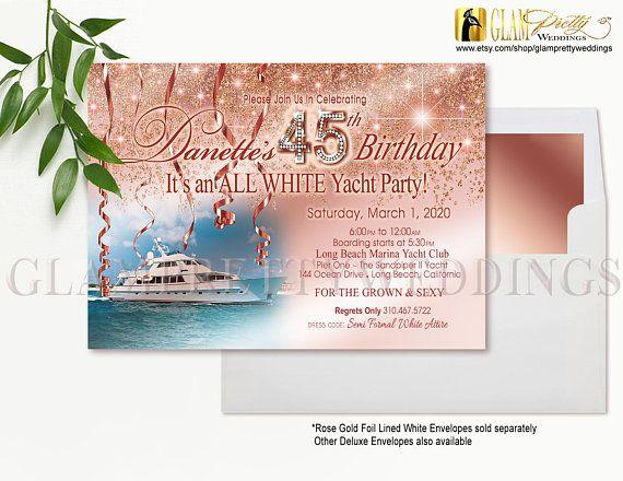 all white yacht party invitation rose gold glitter diamond