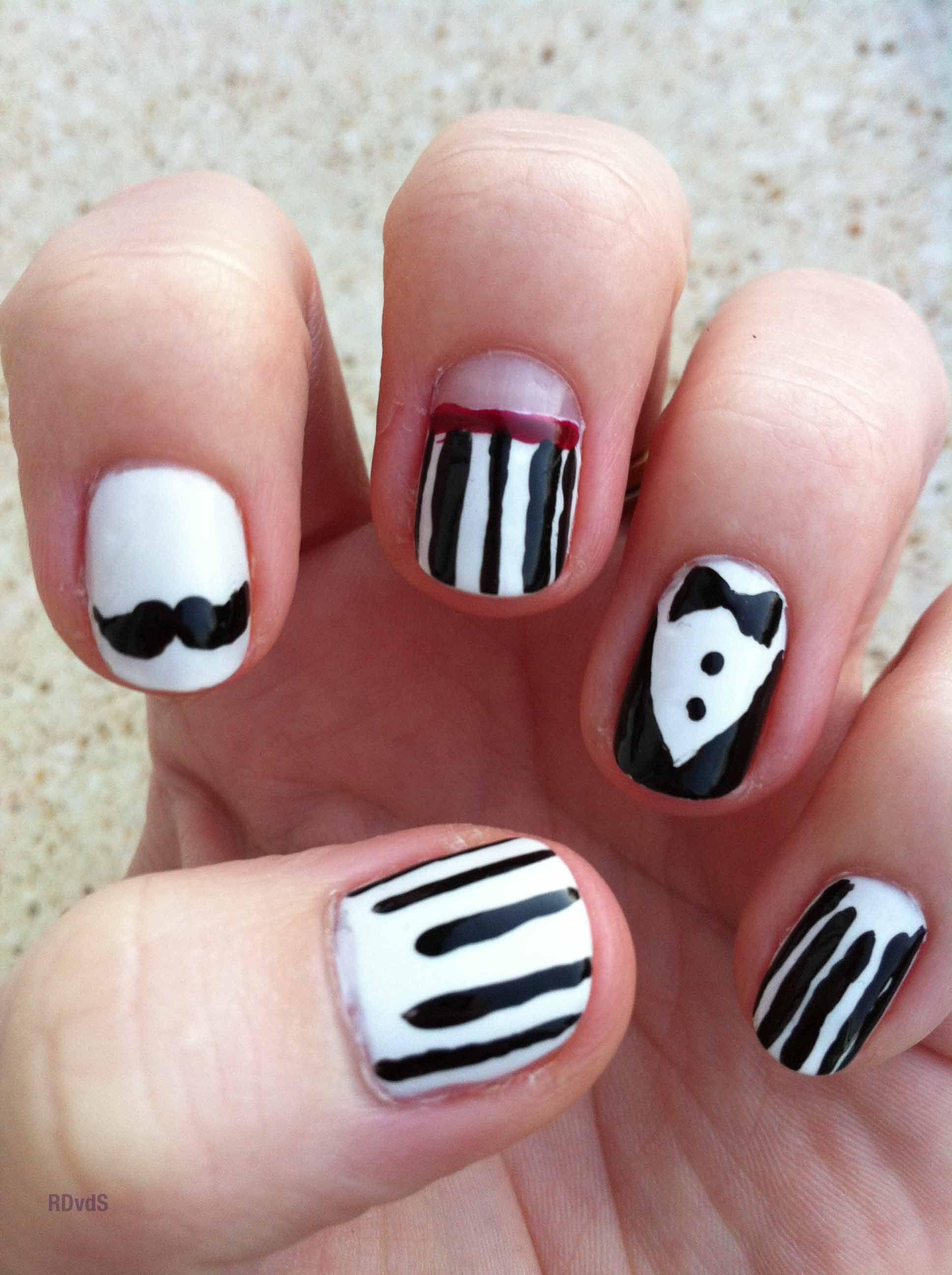 Tuxedo Mustage Mister Nail Art Rdvds Nails Pinterest