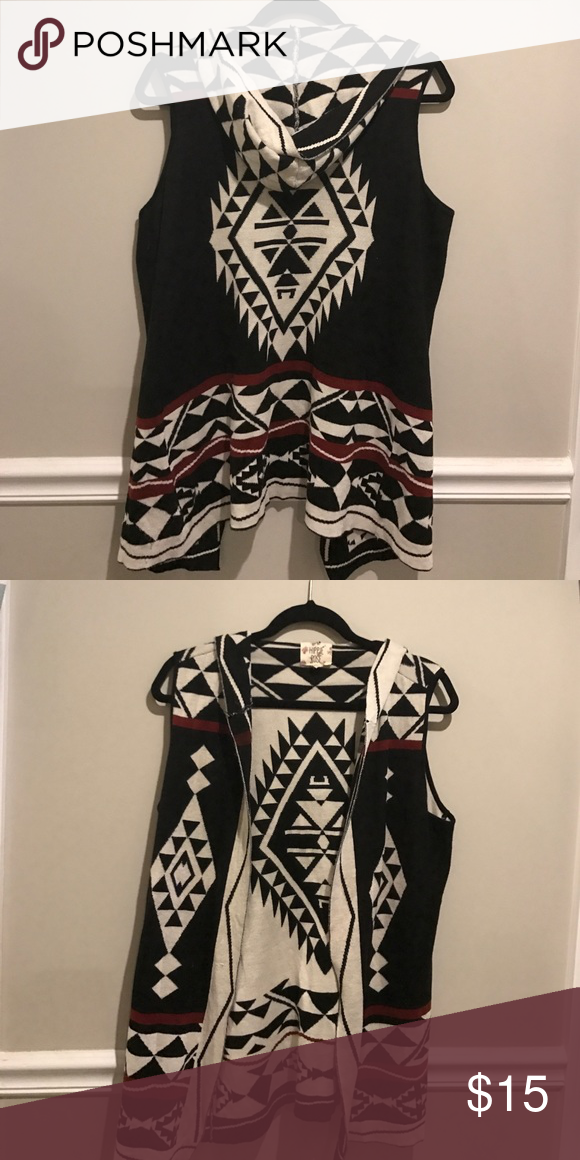 Hooded Sweater Vest Aztec print hooded long sweater vest. Looks great paired with leggings and boots. Also looks awesome with a denim pair of shorts or jeans. Hippie Rose Jackets & Coats Vests