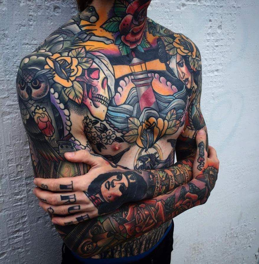 By Mike Stockings Traditional Chest Tattoo Chest Tattoo Men Traditional Tattoo