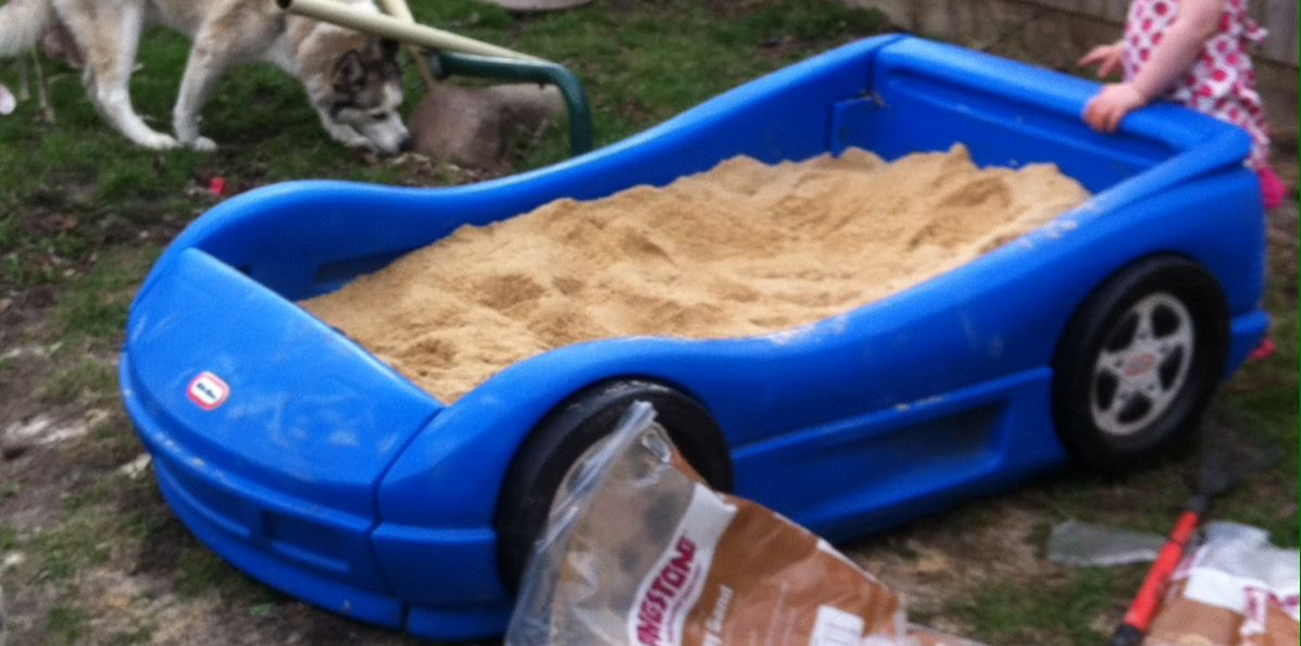 Kids Sand Box Took Old Toddler Car Bed And Removed Wood