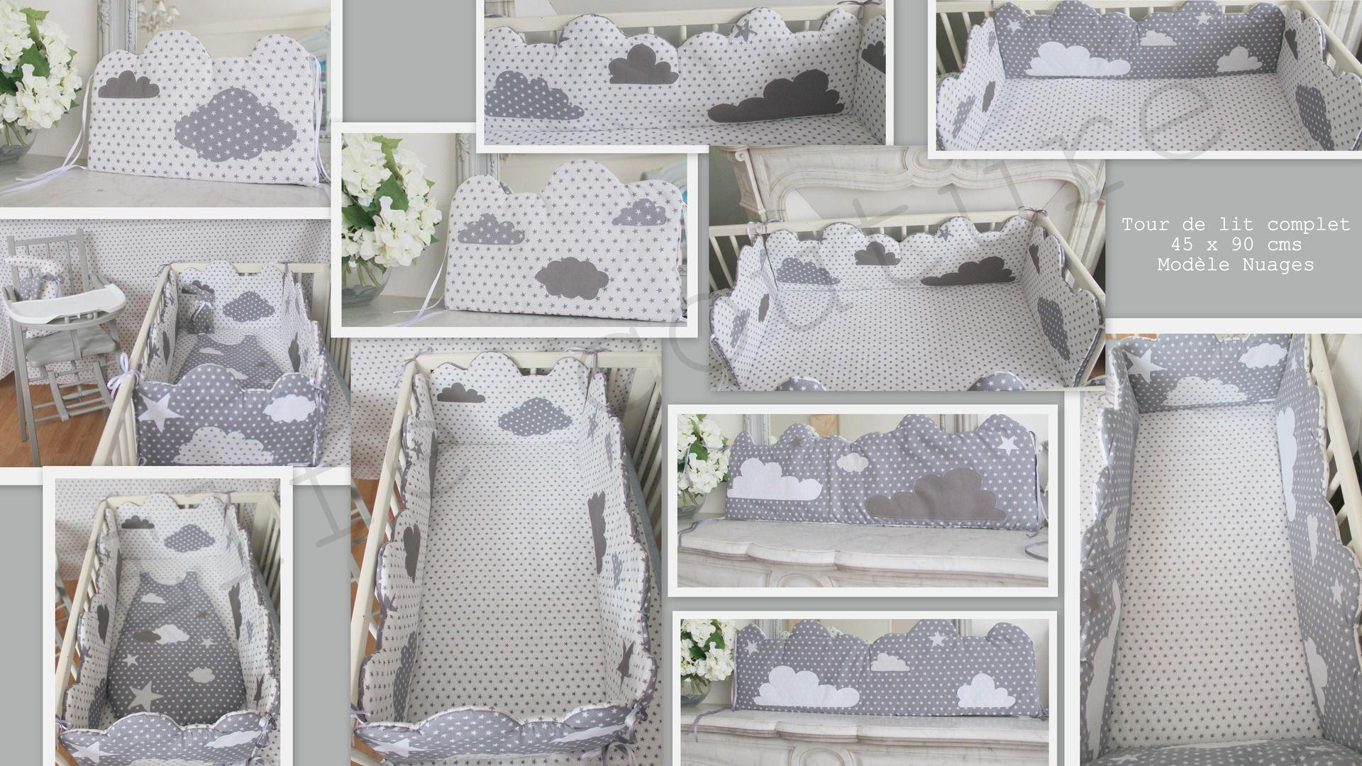 tour de lit mini complet r versible 45 x 90 cms forme nuage et th me nuages toiles tons. Black Bedroom Furniture Sets. Home Design Ideas