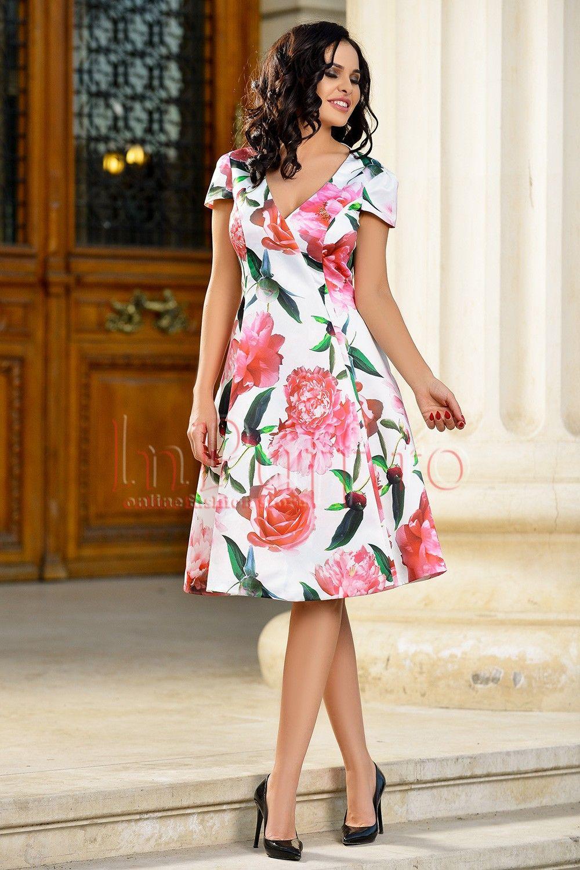 Rochie Eleganta Din Tafta Cu Imprimeu Floral Colorat în 2019