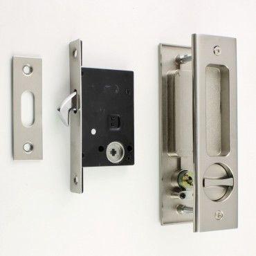 Bathroom Hook Lock Set With Turn And Release U0026 Rectangular Flush Pull For  Sliding Pocket Doors   Satin Nickel