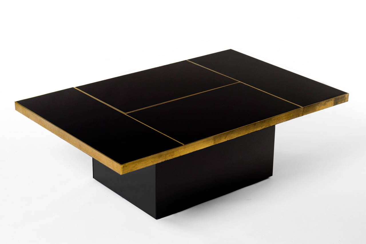 Brass And Black Mirror Cocktail Table With Liquor Storage Liquor