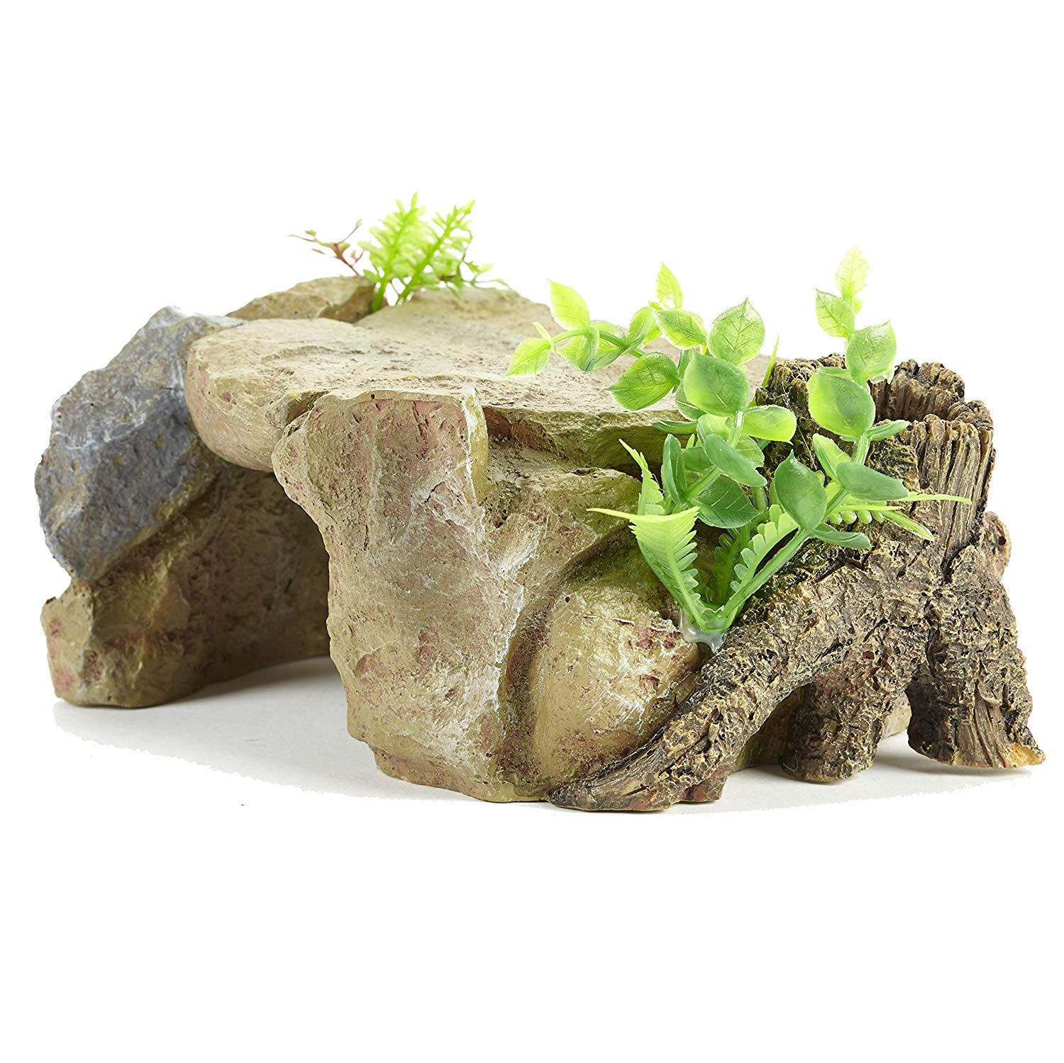 Pet Ting Hidden Cave With Stump Ornament Reptile And Fish Decoration Hide Out Rock Amazon Co Uk Pet Supplies Fishing Decor Reptiles Fish Supplies