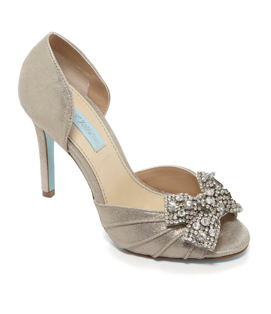 Blue by Betsey Johnson Gown Jeweled Bow Peep-Toe Pumps | The Bride ...