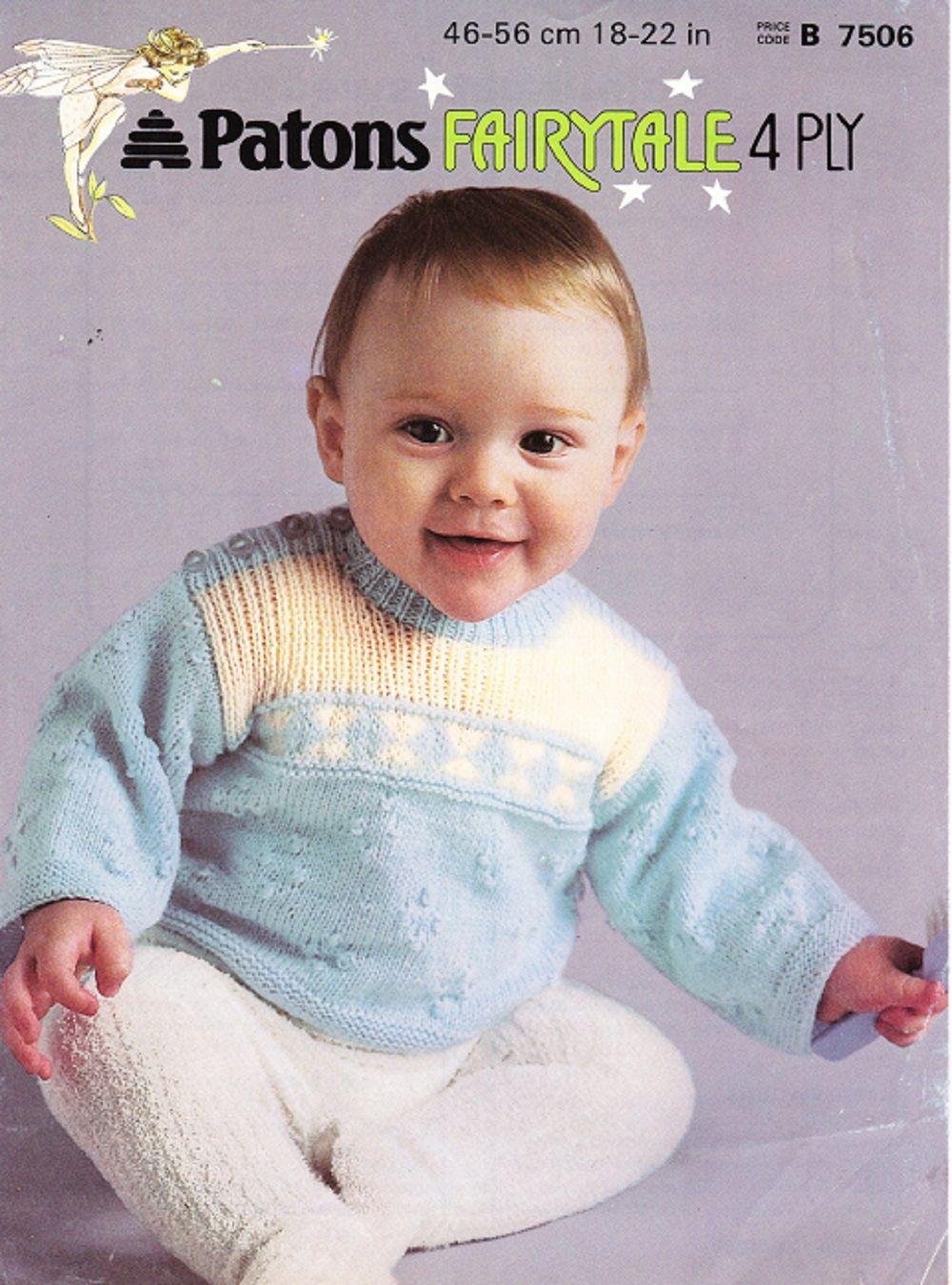 Patons Knitting Pattern 7506 Baby Colour Patt Sweater