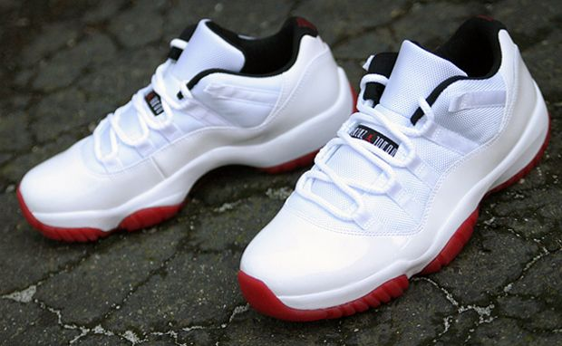 e8153a3d65b Air Jordan 11 Low White Black-Varsity Red