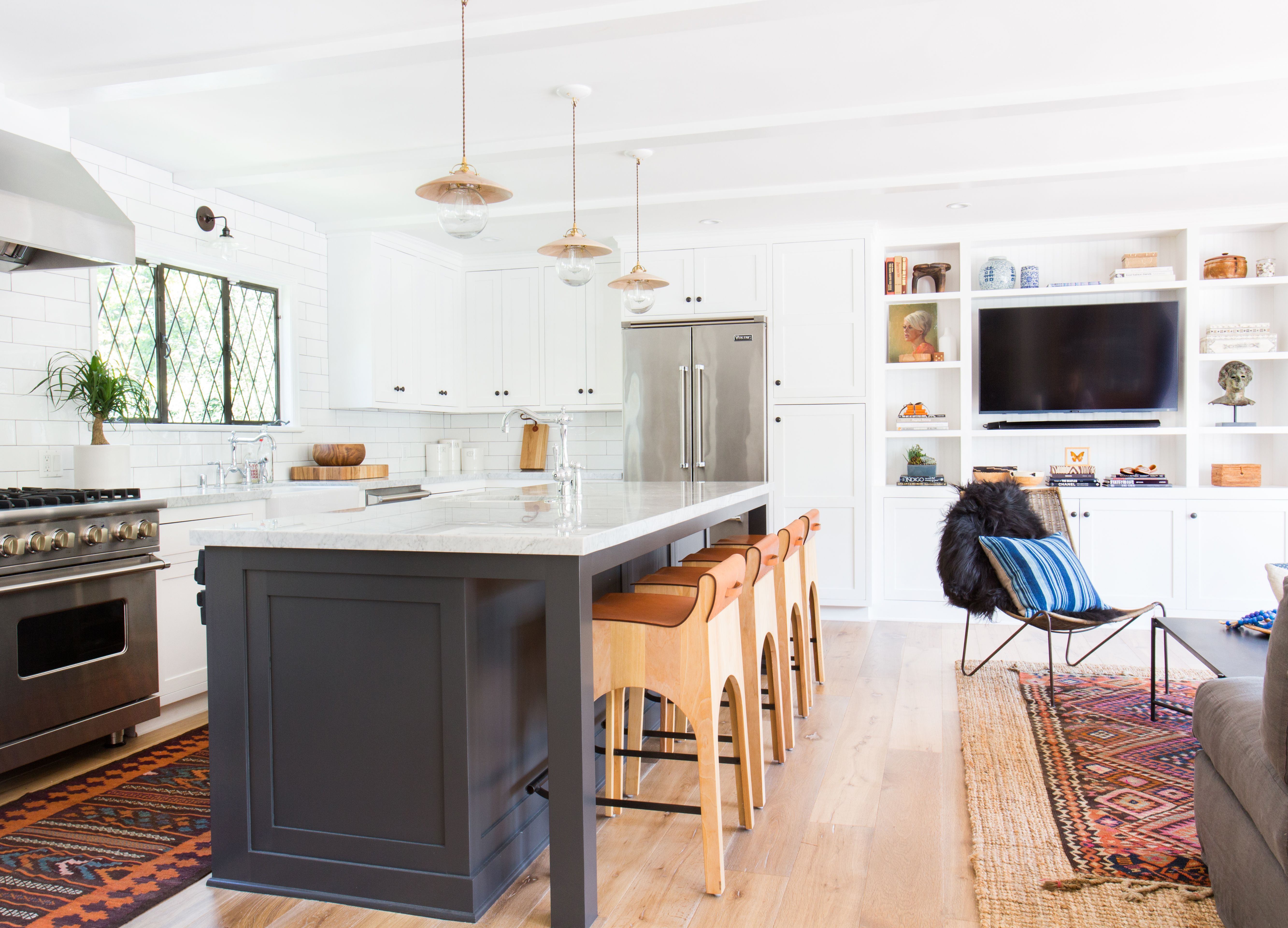 Amber Interiors Open Floor Minimal Bohemian Kitchen + Living Room ...